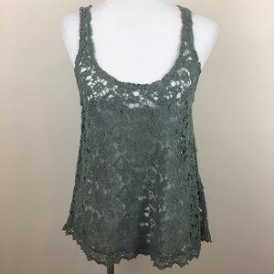 Anthropologie ECOTE Sage Green Crochet Tank Top S